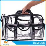 Saco cosmético transparente do PVC do saco cosmético quente do PVC do espaço livre do Sell com cinta de ombro