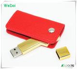 Qualitäts-ledernes Schlüssel USB-Blitz-Laufwerk mit niedrigen Kosten (WY-L42)