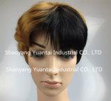 Perruque synthétique ondulée courte de cheveu pour la sensation de cheveux humains de femme