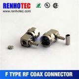 Connecteur femelle R/a nickelé de sertissage de F pour le câble Rg174 Rg179