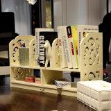 2 la mini oficina del blanco DIY de las gradas talló un estante simple