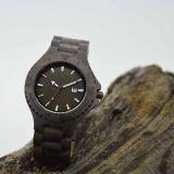 Houten Horloge van het Sandelhout van het roestvrij staal het Zwarte