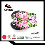 熱い販売の女性の多彩な花のPEの物質的な双安定回路のスリッパ