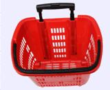 2016 paniers à provisions en plastique de roulement de supermarché en gros avec la poignée