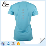 Señora seco apto de la camisa de poliéster técnica de impresión personalizada Camiseta Running
