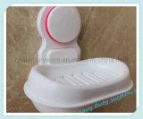 Supporto bianco del contenitore del sapone della tazza di aspirazione dell'ABS di stile ovale della stanza da bagno