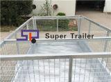 rimorchio della casella galvanizzato singolo asse di 8ftx5FT con la gabbia smontabile