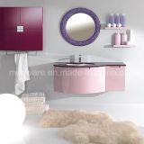 円形ミラーとの新しいデザインピンクの波PVC浴室用キャビネットの虚栄心