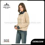 Sweater van de Room van de Koker van het Geribbelde Gewas van meisjes de Warme Lange