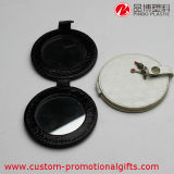 La forma redonda gira el mini espejo cosmético Pocket de la PU con el botón