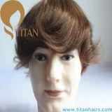 Mono Silk Base PU Autour de Remy Cheveux humains Toupee masculin