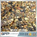 Decoración mezclada roja blanca negra de la piedra del río del guijarro del color de la vena amarilla