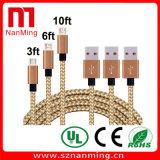 USB trançado de nylon 2.0 da alta velocidade um macho ao micro cabo do macho do USB