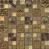 Mezclado del azulejo en color del cristal de mosaico de baldosas mezclado de acero inoxidable (FYMG026)