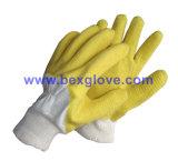 Tc 능직물 강선, Tc 니트 손목, 유액 코팅, 잔물결은 주름 완료 장갑을 유행에 따라 디자인 했다
