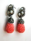 Decorazione di corallo dei monili degli orecchini dell'orecchino del fiore della perla di modo