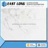 Bancadas de mármore artificiais da pedra de quartzo da cor das lajes grandes brancas baratas da pedra de quartzo da cor