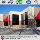 Entrepôt de bâti en acier avec le mur rideau en pierre et en verre