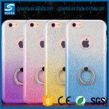 Caso de Kickstand TPU del anillo de diamante de Bling del polvo del brillo para la cubierta del iPhone 6s