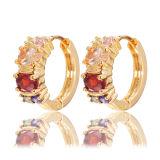 orecchini d'argento del cerchio di doratura elettrolitica 14k 925 con la pietra di colore