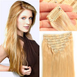 Human Hair ExtensionsのHair Extensions Full Head ClipのStraight Remy HairブラジルのVirgin Clipの2015熱いSell Clip