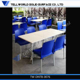 Wholesale Restaurant Furniture Modern Corian Pure White Marble Top Restaurant Table Top and Chairs for Kfc and Mcdonalds