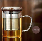 чашка чая стеклянной чашки офиса 450ml стеклянная с стеклом чая фильтра