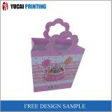 Bolso de compras rosado del regalo del papel de la Flor-Dimensión de una variable
