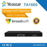 16 Gateway ATA del SIP VoIP del Gateway analogico portuario de Rj11 FXS