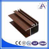 Personalizado grano de madera de aluminio de extrusión de perfiles para ventanas y puertas