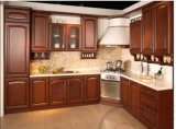 De rode Kabinetten van het Ontwerp van de Keuken van de Kleur van de Kers Stevige Houten Bruine
