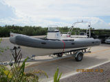 Liyaのガラス繊維のカタマランのボート6.6mの軍隊は堅く膨脹可能なボート中国を巡回する