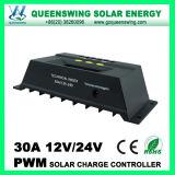 Controlador de Carga 12V / 24V Auto 30A PWM solar com display LCD