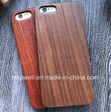 Caixa de madeira Rubberized do telefone móvel do iPhone 7/6/5s da placa de PC+Wood feita por Rosewood/bambu/noz/Teakwood
