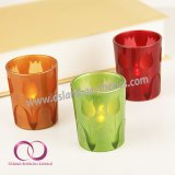 WholseのTuplitパターンが付いている簡単な現代ガラス蝋燭ホールダーの蝋燭のコップ