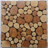 居間の壁の物質的で古い木製のモザイク