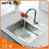 Mezclador de cobre amarillo del agua del fregadero de cocina de la sola palanca contemporánea