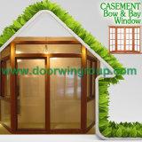 Окно древесины дуба типа Америка твердое с конструкцией решетки, деревянным уравновешиванием & Architraves для окна Casement твердой древесины алюминиевого