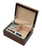 Jeu en bois de montre de fini à haute brillance et de boîte-cadeau de crayon lecteur