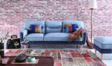 Sofá grande de tecido com almofadas coloridas para móveis de sala de estar