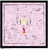 Lenço quadrado de seda abstrato de Desgns
