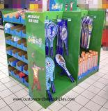 Four-Sided Pappladeplatten-Bildschirmanzeige mit Regalen und Haken für Sport- Waren