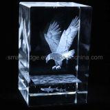 Cubo del águila del laser del cristal 3D (ND11090)