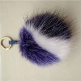 Pompom falso d'argento lanuginoso sveglio della pelliccia di Fox Keychain della pelliccia di Fox di falsificazione POM Poms