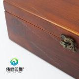 Caixa de impressão de impressão de madeira delicada com bloqueio de metal
