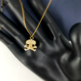流行の金によってめっきされる頭骨のステンレス鋼の水晶男女兼用のネックレスのペンダント