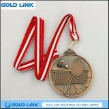 La médaille antique faite sur commande la récompense de badminton de pièces de monnaie de médailles en métal de moulage mécanique sous pression