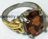 Gouden Ring van de Juwelen van de Steen van het Roestvrij staal van de manier de Rode