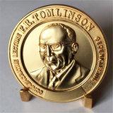 Satin-Goldmedaillen-Münze Funktionseigenschafttom-Linson