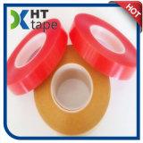 El doble de acrílico transparente de la película del animal doméstico echó a un lado cinta con el trazador de líneas rojo